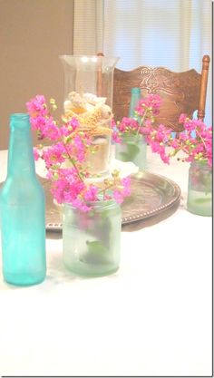 DIY Sea glass paint. You just need food coloring, school glue, a little water and a tiny bit of dish soap. Love these colors!