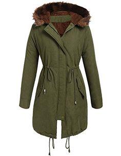6f8287d942af Amazon.com  Beyove Women Winter Warm Hoodie Faux Fur Lined Down Parka  Outdoor Long Jacket Coats  Clothing
