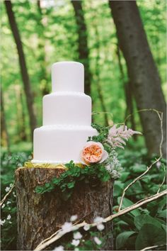 Fantasy Wedding Ideas: This #magical #woodland #wedding cake was photographed by Meg Van Kampen Studios on Wedding Chicks