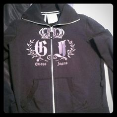 Guess black track jacket Like new hardly used. Rhinestone crown zipper works! Nice big collar Guess Jackets & Coats