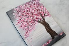 Painting a Cherry Blossom Tree with Acrylics and Cotton Swabs! Painting a Cherry Blossom Tree with Acrylics and Cotton Swabs! Simple Canvas Paintings, Small Canvas Art, Easy Canvas Painting, Mini Canvas Art, Tree Paintings, Knife Painting, Art Mini Toile, Tree Trunk Painting, Chinese Cherry Blossom
