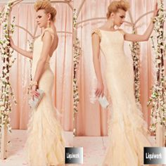 Ivory Champagne Backless Mermaid Wedding Bridal Party Evening Dresses SKU-122838