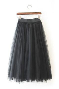 Black Tulle Midi Skirt