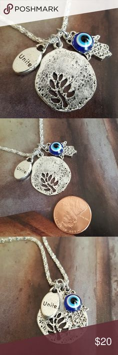 Hamsa evil eye Unite tree of life silver necklace 16 to 18 inch nwt handmade  Jewelry Necklaces