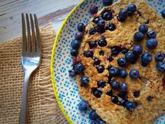 Blueberry Coconut Chia Pancakes (gluten free, nut free) - The Natural Nurturer Clean Eating, Healthy Eating, Cooking With Coconut Oil, Oat Pancakes, Blueberry Recipes, Nut Free, Organic Recipes, A Food, Food Processor Recipes