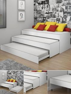 Three sofas/single beds in one. Small spaces--great ideas for a spare room, a guest room and slumber parties.