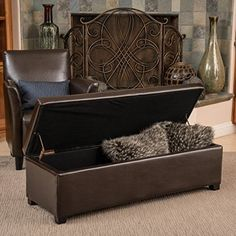 Sherman Brown Leather Storage Ottoman Bench * Check out this great product.Note:It is affiliate link to Amazon. #sky
