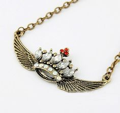 Vintage Rhinestone Crown&Wings; Pendant Necklace at Cheap Vintage Jewelry Store Gofavor - StyleSays