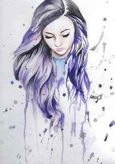 Purple Hair Girl Drawing Google Search Drawings Pinterest Art Drawings Watercolor Girl