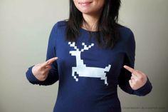 DIY Pixelated Reindeer Shirt Tutorial