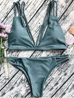 $13.99 Low Cut Strappy Bralette Bikini - ARMY GREEN M