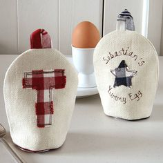 Personalised Embroidered Egg Cosy. Embellished on both sides by milly and pip. Copyright © milly and pip