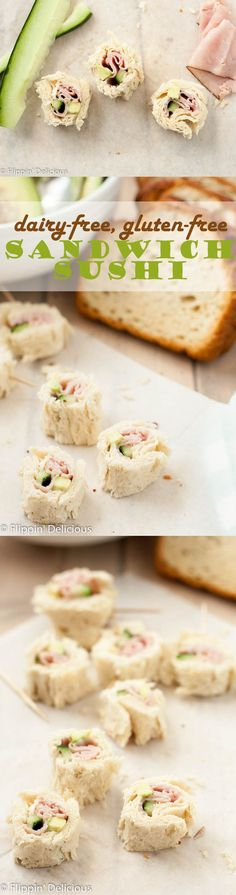 Dairy Free Gluten Free Sandwich Sushi makes a fun and portable lunch that everyone can enjoy. Fill your GF sandwich sushi with your favorite fillings! Made with @canyonbakehouse #LoveBreadAgain AD