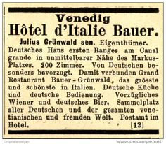 Original-Werbung/ Anzeige 1897 - VENEDIG / HÔTEL D'ITALIE BAUER - ca. 45 x 40 mm