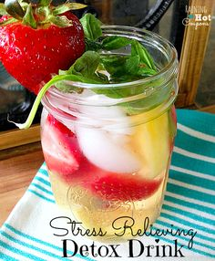 Stress Relieving Detox Drink 16 oz Cold Water Cup Ice 5 Strawberries Cup Pineapple 1 to 2 teaspoons Apple Cider Vinegar Medium Basil leafs Yummy Drinks, Healthy Drinks, Get Healthy, Healthy Life, Healthy Living, Healthy Recipes, Detox Recipes, Drink Recipes, Smoothies