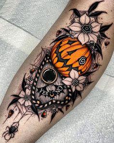 Arm Sleeve Tattoos, Sleeve Tattoos For Women, Cover Up Tattoos For Women, Body Art Tattoos, Cool Tattoos, Tatoos, Cute Halloween Tattoos, Spooky Halloween, Pumpkin Tattoo