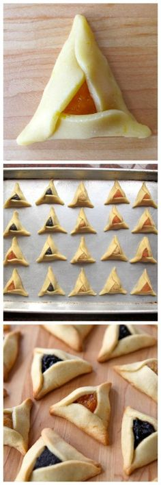 How to Make Perfect Hamantaschen - Recipes and Tips for Dough, Fillings, Folding and Shaping by Tori Avey. I know these are for the cookies, but I really like this as an alternative idea for 'turnovers' with simple pie crust and pie filling. Passover Recipes, Jewish Recipes, German Recipes, Just Desserts, Delicious Desserts, Yummy Food, Delicious Cookies, Biscotti, Comida Judaica