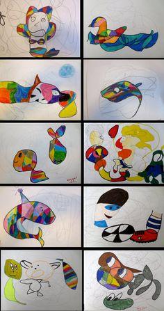 GARABATO. Técnica: Lápices de colores, ceras duras y rotuladores. Me encanta esta actividad porque desarrolla la creatividad del niño y les descubre una nueva técnica para crear formas.  No importa la edad para llevarla a cabo. Alumnos en 5º de EP. Colegio Alameda de Osuna.