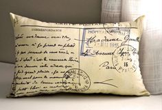 French postcard pillow by lisawinestudios on Etsy, $23.50