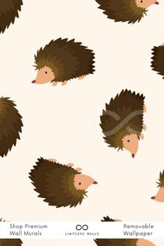 Precious little hedgehogs roam around a neutral background. This adorable animal wall mural is the perfect finishing touch to your children's bedroom. Tap to shop now at limitlesswalls.com! Childrens Wall Murals, Nursery Wall Murals, Wallpaper Designs, Designer Wallpaper, Animal Wallpaper, Of Wallpaper, Special Wallpaper, Removable Wall Murals, Hedgehogs
