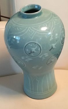 Celadon Prunus Vase With Inlaid Designs Of Cranes & Clouds Korean Japan by Curioshop1 on Etsy