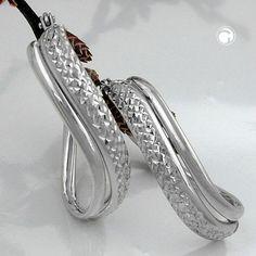 Creole, oval geschwungen, Silber 925  leicht gedreht, mit Bügelverschluss, diamantiert, Oberfläche anlaufgeschützt rhodiniert