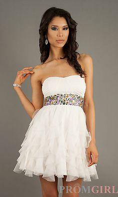 Short Strapless Dress at PromGirl.com Closure:Back Zipper Details:Bead Embellished Fabric:100% Polyester Length:27 inches Neckline:Strapless Waistline:Natural