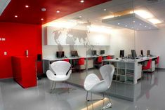 Modern Red Travel Agency Office Interior Design Ideas with Elegant Unique Chair - Welcome. Thank you very much for visiting our site. We are the oldest travel agency in Japan and have been in business for more than 100 years. Interior Design Companies, Office Interior Design, Office Interiors, Modern Interior Design, Office Designs, Red Office, White Office, Office Decor, Office Wall Paints