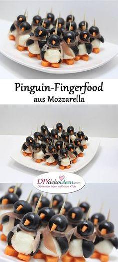 Pinguin-Fingerfood aus Mozzarella - Rezeptideen Fingerfood Party einfache Rezepte - Weihnachten Fingerfood - Silvester Party - Silvesterparty - Weihnachtsparty - Silvester Fingerfood - Silvester Rezepte -