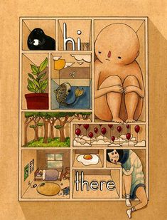 Hi There Mini Art Print by Felicia Chiao - Without Stand - x Felicia, Aesthetic Art, Wall Collage, Gouache, Cute Art, Graphic Illustration, Art Inspo, Art Reference, Art Drawings