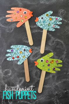 "So what are you waiting for? Grab your craft supplies and get to work on helping your child make their very own ""school of fish"" today! Don't forget to make a few pieces using your handprints too! Happy crafting and pretend playing, my friends!nn Here's what you'll need:n  Scrapbook Paper/Cardstock Papern Rhinestonesn Popsicle Sticksn Penciln Scissorsn Wiggle Eyesn Glue"