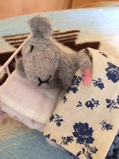 Needle Felted Mouse. Sleepy Mouse. Felted animals