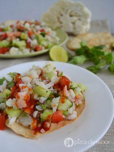 Ceviche de coliflor vegetariano y saludable www.pizcadesabor.com