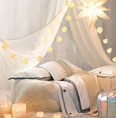 Holiday Collection: Moravian Star Paper Pendant, Paper String Lights, White Tortoise Hurricanes, Sheepskin Throw