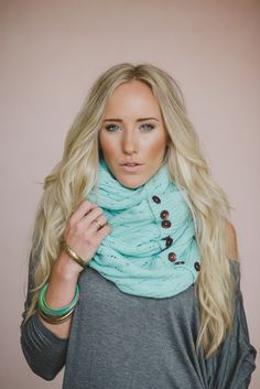 Knitted Scarf Button Up Mint Chunky Infinity Fall by ThreeBirdNest Chunky Infinity Scarves, Frilly Dresses, Fall Scarves, Loop Scarf, Knitting, My Style, How To Wear, Painted Desert, Fashion Accessories