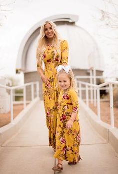 Mommy and Me Matching Long Sleeve Floral Print Long Maxi Dress Family High Waist Pleated Long Dress with Pockets Mommy Daughter Dresses, Mommy And Me Dresses, Mother Daughter Matching Outfits, Mother Daughter Fashion, Mommy And Me Outfits, Matching Family Outfits, Baby Girl Dresses, Kids Outfits, Matching Clothes