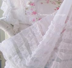Shabby Chic Beach Cottage Shower Curtains White Ruffles Pink Roses Crystal Shower Curtain Hooks
