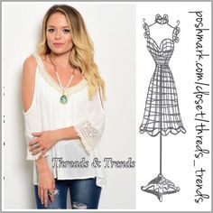 Open Shoulder Boho Blouse Beautiful open shoulder woven V Neck blouse with crochet lace trim throughout. Color Ivory. Made of rayon. Size S, M, L Threads & Trends Tops Blouses