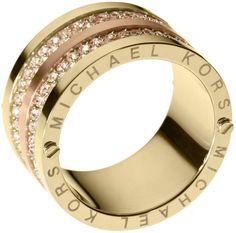Michael Kors Pave Barrel Band Ring Golden