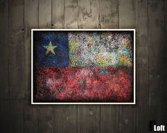 Hand-Painted Flag of Chile Chilean Flag-Distressed by ArtForLoft