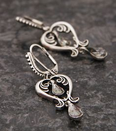 Silver Polished Alloy Metal Earrings