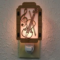 Violin Night Light with Music Note sides