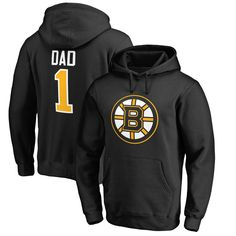 Boston Bruins Number One Dad Pullover Hoodie - Black