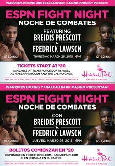 Warriors Boxing and Hialeah Park Casino, proudly present: ESPN Fight Night-Noche de Combates-
