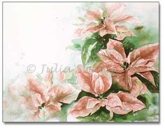 Watercolor Painting of Poinsettia
