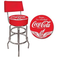 Vintage Red Green Coca Cola Logo Bar Stool Retro Vibes Pinterest