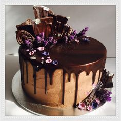 Vegan choc mud cake decorated with fresh lavender. Mud Cake, Vegan Cake, Egg Free, Dairy Free, Cake Decorating, Fresh, Desserts, Lavender, Cakes