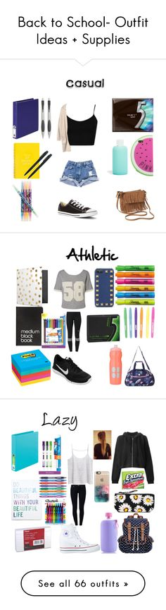 """""""Back to School- Outfit Ideas + Supplies"""" by bubbles-a ❤ liked on Polyvore"""