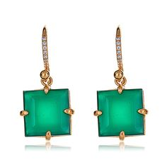 9304c7ac6 Shop the Bounkit Square Drop Green Onyx Earrings and Bounkit Jewelry at  HAUTEheadquarters.com Green
