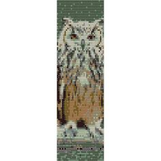 Owl  1 Loom Bead Pattern, Bracelet Cuff, Bookmark, Seed Beading Pattern Miyuki Delica Size 11 Beads - PDF Instant Download